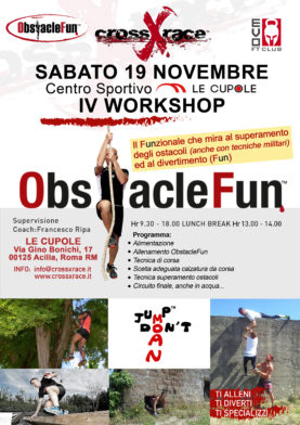 IV WORKSHOP OBSTACLEFUN 19 NOVEMBRE 2016